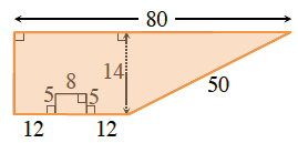 The figure for the problem is all shaded including the cut out small rectangle and outer edge is highlighted.