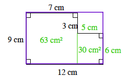 The enclosed figure is cut into two rectangles, by extending the 3 cm line down, to the 12 cm line. The rectangle on the left, is labeled 63 square centimeters, in its interior. The rectangle on the right, is labeled 30 square centimeters, in its interior.