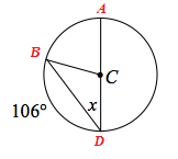Added labels to the circle, Endpoints of diameter, A, and, D, endpoints of chord, B, and, D.