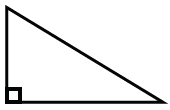 A triangle that appears to have no sides, the same length, and one angle labeled, 90 degrees.