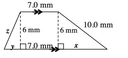 A trapezoid with bottom base 17 mm and top base 7 mm, left side blank and right side 10 mm. A right triangle is created by a line segment of 6 mm drawn from the upper left vertex to the base at right angles.