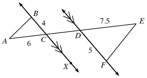 Two decreasing parallel lines with a transversal segment between them, A, E intersecting the right parallel line at, C, and the left parallel line at D. A point B above and on the left parallel line is part of triangle, A, B, C where B, C is 4 and A, C is 6. A point F below and on the right parallel line is part of triangle, D, E, F where D, E is 7.5 and D, F is 5.