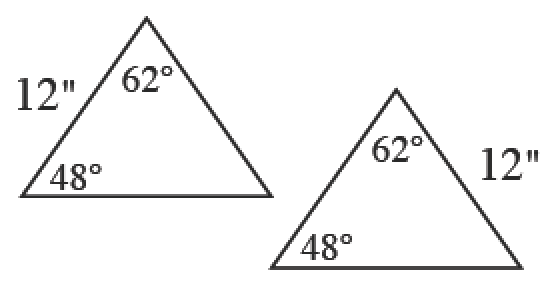 Two triangles. First triangle has two angles, 48 and 62 degrees with a side length of 12 inches between the angles. Second triangle has 48 and 62 degree angles with a side length of 12 feet opposite the 48 degree angle.