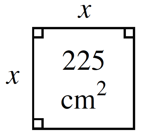 A square with interior labeled, 225 square centimeters, and sides labeled, x.