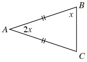 Triangle, A,B,C, labeled as follows:  Angle, B, x, angle, A,  2, x. Side, AB, 2 tick marks, side, AC, 2 tick marks.