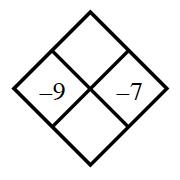 Diamond Problem. Left negative 9, Right negative 7, Top blank,  Bottom blank