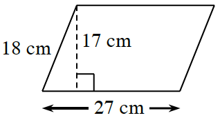 A parallelogram, slanted right, with bottom, 27 cm, Left, 18 cm.  A right triangle is created by a line segment of 17 cm, drawn from the top left vertex, to the bottom side, at a 90 degree angle to the bottom.