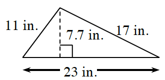 A triangle with a base of 23 in, left side 11 in, and right side 17 inches.  Two internal triangles are created by a line segment, of 7.7 in, drawn from the upper vertex, to the base, at right angles.