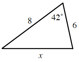 Triangle, labeled as follows: left side, 8, right side, 6, bottom side, x, top vertex angle, 42 degrees.