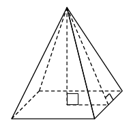 A rectangular pyramid, with dashed line segments from the top vertex, perpendicular to the center of the rectangle, and from the center of rectangle, to bottom mid-point of right side triangle, and from the top vertex, perpendicular to the bottom edge of the right side triangle. This creates an internal right triangle.