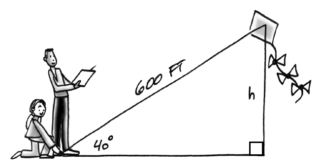 A diagram of a person flying a kite. The length of the string is 600 feet and the slope angle from the ground to the kite is 40 degrees. The height of the kite is labeled h.
