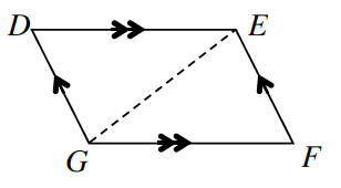 Quadrilateral D, E, F, G where sides D, G and E, F have one arrow and sides D, E and G, F have two arrows.  A dashed line, G, E, divides the shape in half.