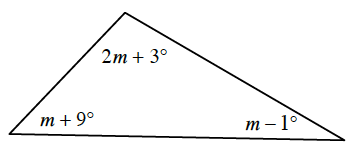 A triangle with labeled interior angles: top angle is 2 M + 3 degrees, lower left angle is M + 9 degrees, and lower right angle M minus 1 degrees.