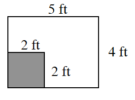 A rectangle, 5 feet, in length and, 4 feet, in width. A shaded 2 feet by 2 feet is in the bottom left corner.