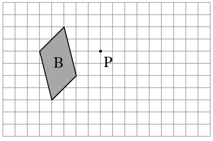 P is the point of rotation. Figure B starts two units up and 3 units left of P. From the start, draw diagonally down 4, & right 1. Then draw diagonally down 2, left 2. Then draw diagonally up 4, left 1. Finally, draw diagonally up 2 and right 2 to enclose Figure B.