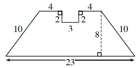 A  horizontal trapezoid, with a rectangle removed from the top side, so that the top edge, starting at top left corner, would be right 4, down 2, right 3, up 2, right 4. Other side labels: right side, 10, bottom, 23, left side, 10. A dashed line segment, labeled 8, from the top right vertex, perpendicular to the bottom side.