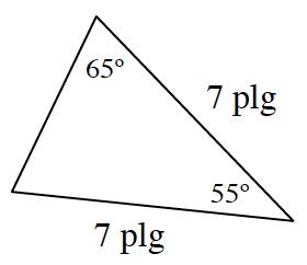 Triángulo en el que dos lados están rotulados 7 pulgadas, con el ángulo que está entre ellos rotulado 55 grados. Uno de los ángulos de la base está rotulado 65 grados.