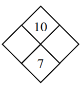 Diamond Problem. Left blank, Right blank, Top 10,  Bottom 7