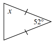 A triangle that has two equal sides with a 52 degree angle between. One of the base angles is labeled x.