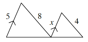 A transversal segment connects the ends of two parallel line segments, 5, and x. A triangle is formed when the opposite end of the parallel segment, 5, has a diagonal line segment, 8, that connects at the point where the transversal connects to the parallel segment, x. And at the end of the parallel segment, x, another diagonal line, 4, connects to a point further along on the transversal forming a second triangle.
