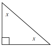 A right triangle with angles 90 degrees, x, and x.