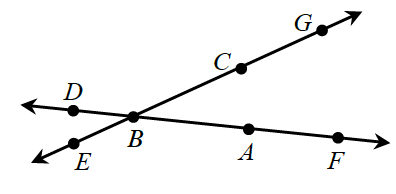 Two lines intersecting at point B. One line has points in the following order from left to right: E, B, C, and G. The other line has points in the following order from left to right: D, B, A, F.
