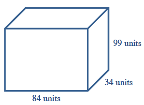 A box with front side bottom, labeled, 84 units, right side labeled on bottom, 34 units, and back edge, 99 units.