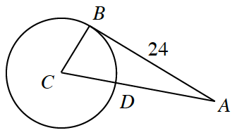 Circle with center labeled, c, points on the circle labeled, b, &, D, with point outside the circle, labeled, a, with segments from C, through, d, to, a, from, c, to, b, from, B, to, A, labeled, 24.