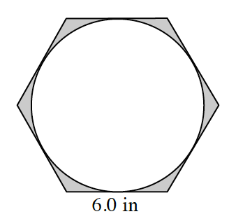 Regular hexagon, with bottom side, labeled, 6 inches, with inscribed circle. The areas between the hexagon and the circle are shaded.