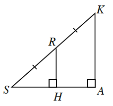 Right triangle K, S, A with a vertical line segment R, H drawn perpendicular to leg S, A within the triangle. Side R, S and side K, R are both marked with one tick mark. Angle R, H, S is 90 degrees. Angle A is 90 degrees.