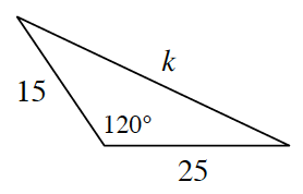 A triangle with the following side lengths 15, 25, and K. 120 degrees is opposite the side, K.
