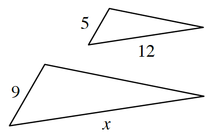 Larger triangle has sides labeled, x and 9. Smaller triangle has sides labeled, 5 and 12.