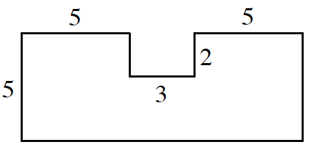 An enclosed figure, starting at the bottom left corner, Up 5, right 5, down an unknown amount, right 3, up 2, right 5, down an unknown amount, left an unknown amount, to enclose the figure.