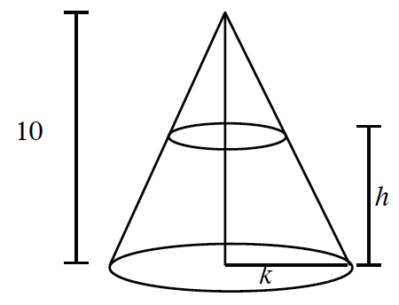 Cone pointing up, segment from vertex to center of circle base, labeled 10, with circle contained within the cone about 1 third down, segment from center of small circle to center of base circle labeled, h, radius on circle base meeting right edge of cone, labeled k.