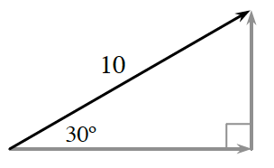 Right Triangle whose 3 sides are rays, black hypotenuse, labeled 10, horizontal & vertical legs, each shaded gray, angle opposite vertical leg, labeled 30 degrees.