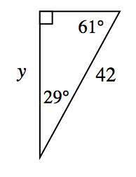 """""""Triángulo rectángulo con ángulos de 61 grados y 29 grados. La hipotenusa mide 42. El cateto opuesto al ángulo de 61 grados es ye.  """""""
