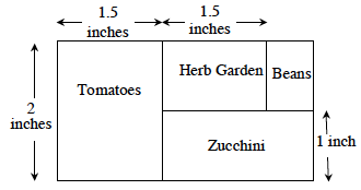 Rectangular garden, 2 by unknown inches. Tomatoes are on the left side: Height 2; Length, 1.5. Zucchini is to the right of the tomatoes. Height: 1 for the rest of the length. Above the zucchini is the Herb Garden. Height: 1 Length: 1.5. The beans complete the garden Height: 1 and length: unknown.
