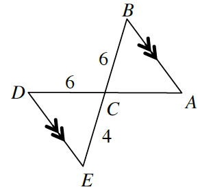 Line segments, AD, &, BE, intersect at, C, with segments from, A, to, B, & from D, to, E, creating 2 triangles with a common vertex, labeled as follows: Sides, AB, &, DE, each with 1 arrow, side BC, 6, side CD, 6.