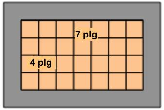 Figura de un marco: el interior está dividido en 4 filas de 7 azulejos cada una.