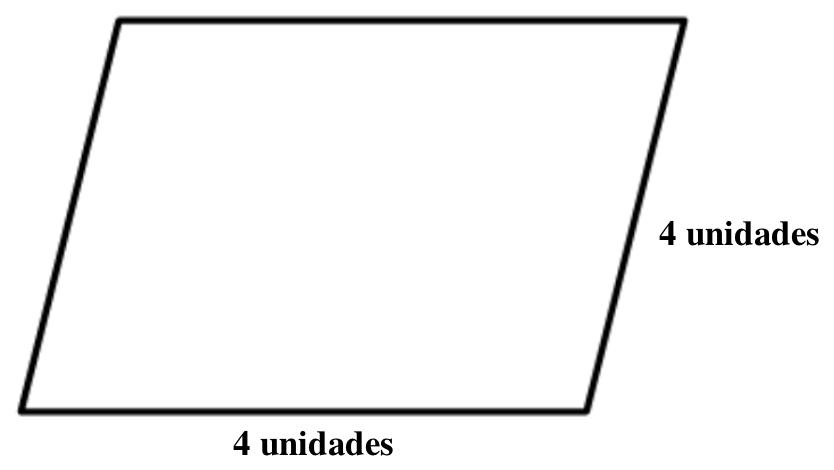 Paralelogramo, inclinado hacia la derecha, con los lados de abajo y derecho, rotulados 4 unidades.