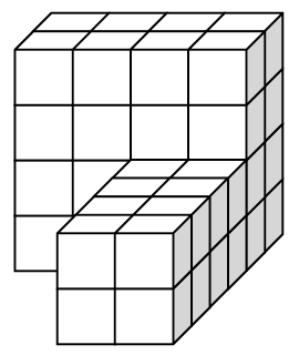 48 cubes such that the first row has 4 cubes with 3 cubes on top of each for a total of 32 cubes. The other 16 cubes form a 2 by 2 by 4 rectangular prism placed horizontally flush on the right side of the 48 cubes in rows 3 through 8.