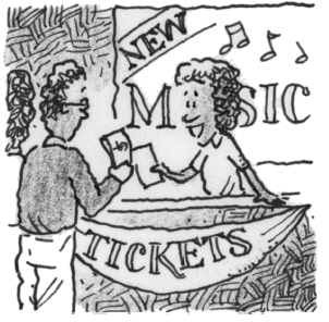 Selling tickets at a ticket booth