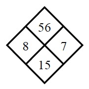 Diamond Problem. Left 8, Right 7, Top 56,  Bottom 15