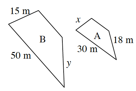 The trapezoids are oriented differently and labeled as follows: Smaller trapezoid labeled, A: larger bottom parallel side, 30 m, right side, 18 m, left side, x.  Larger trapezoid labeled, B, larger bottom parallel side, 50 m, right side, y, left side 15 m.