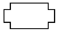 A rectangle, but at each corner, it turns in, and back out, creating a rectangle with missing corners.