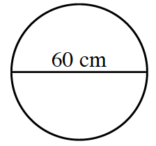 A circle with a diameter of 60 cm.