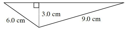 A triangle in centimeters with left side, 9, and right side, 6.  Two internal triangles are created by a line segment of 3 cm drawn from the upper vertex perpendicular to the base at right angles.