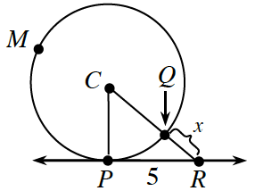 Circle, center labeled, C, with points on the circle as follows: Point on upper left  labeled, m, point at bottom, labeled, p, point on bottom right, labeled, Q, & horizontal line, containing point, P, & another point to the right of, P, labeled, R, Segments from, C, to P, & from C, through, Q, to, R, create triangle, C,P,R, Segment, Q,R, labeled, x, & segment P,R, labeled, 5.