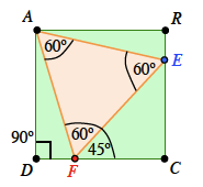 Label added to angle, E F C, 45 degrees.
