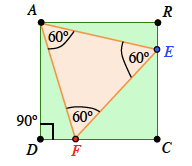 Angles added to triangle, A E F, each angle is 60 degrees.